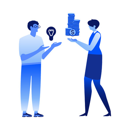 Financing vector illustration - new business idea concept with man holding light bulb and female banker or financier with stack of money coins - isolated flat image of loan for project startup.