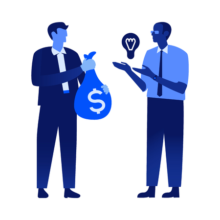 Vector office male people, managers, clerks holding money bag with dollar sign, light bulb symbol of idea, creativity. Business men characters in suits, blue flat icon illustration