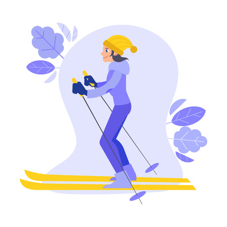 Vector girl skiing outdoors in winter in warm clothing and yellow hat on abstract floral elements background. Female character doing sport, cute woman training on snow illustration. Stock Illustratie