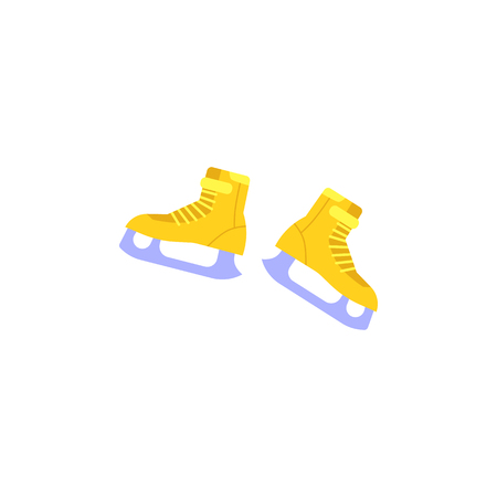 Vector yellow ice-skates icon. Winter sport and recreation, leisure activity equipment element. Outdoor activity footwear. Isolated illustration. Foto de archivo - 128169261