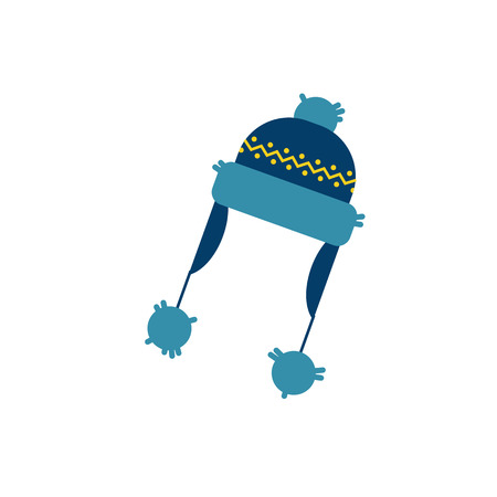 Cute blue knitted hat with earflaps with abstract christmas print icon. Cold weather, winter outdoor leisure activity cloth with traditional ornament. Vector isolated illustration.