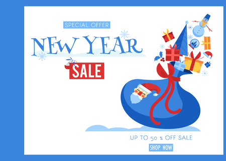 New Year sale banner vector illustration with Santa Claus bag with gifts and winter symbols isolated on white background - flat decorative traditional elements for holiday promotion poster. Ilustracja