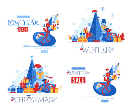 Vector illustration set of winter seasonal and holiday sale banners with flat traditional Christmas and New Year elements and symbols isolated on white background - special offer promotion posters.