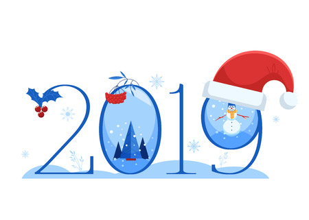 Vector illustration of New 2019 Year horizontal banner with number and various winter and holiday symbols isolated on white background - flat traditional elements for congratulation design.