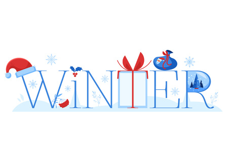 Winter vector illustration horizontal banner with word and various winter and holiday symbols isolated on white background - flat traditional elements for greeting or promotion design. Ilustração
