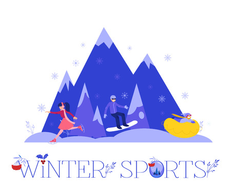 Winter sports vector illustration with various people in warm clothes snowboarding, skating and riding on snow tube in mountains isolated on white background - active leisure concept in flat style.