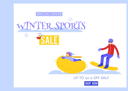 Winter sports vector illustration sale banner with young man snowboarding and child riding on snow tube isolated on white background - seasonal promotion design in flat style.