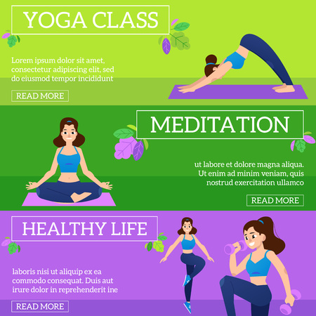 Vector illustration set of sport and healthy lifestyle horizontal banners with young women doing fitness exercises with weights, practicing yoga and meditating in flat style.