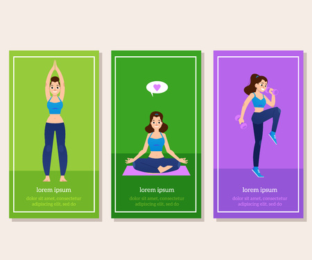 Vector illustration set of sport and healthy lifestyle vertical banners isolated on white background with young women doing fitness exercises, practicing yoga and meditating in flat style. Illustration