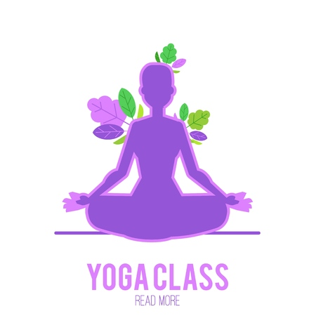 Yoga vector illustration of luminous ultra violet silhouette of young woman sitting in lotus pose and meditating with decorative leaf elements isolated on white background. Illustration