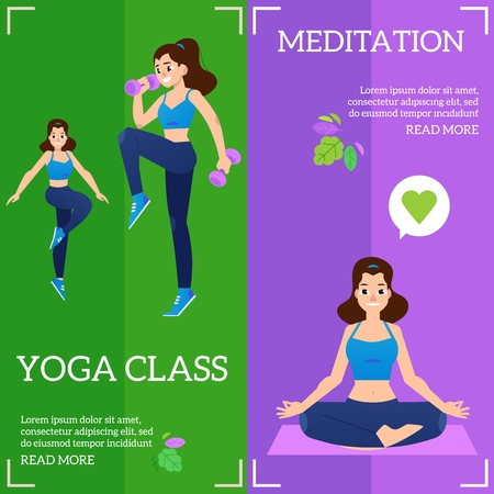 Vector illustration set of sport and healthy lifestyle horizontal banners with young women doing fitness exercises with weights and meditating in yoga class in flat style. Illustration