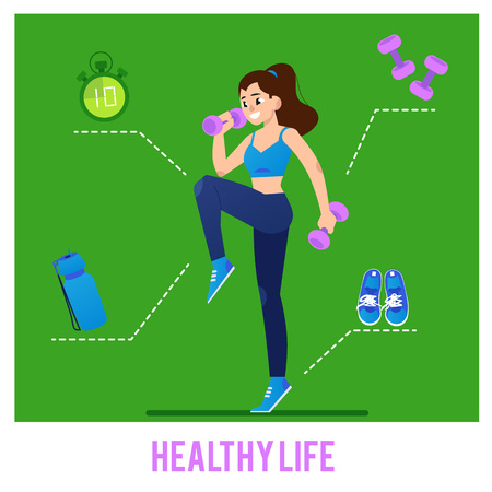 Vector illustration sport equipment infographic with young woman doing fitness exercises with weights isolated on green background and various necessary tools for workout.