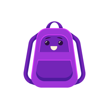 Schoolbag character with facial emotions icon. School students equipment, kids baggage element. Purple flat backpack, rucksack with books and other school supplies. Vector isolated illustration