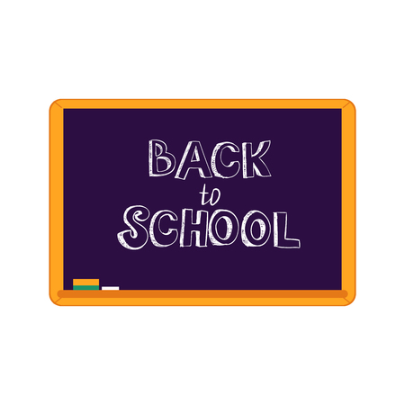 Vector illustration of Back to school text design - handwritten chalk sign on blackboard with wooden frame isolated on white background. Flat classroom supply with welcome sign. Illustration