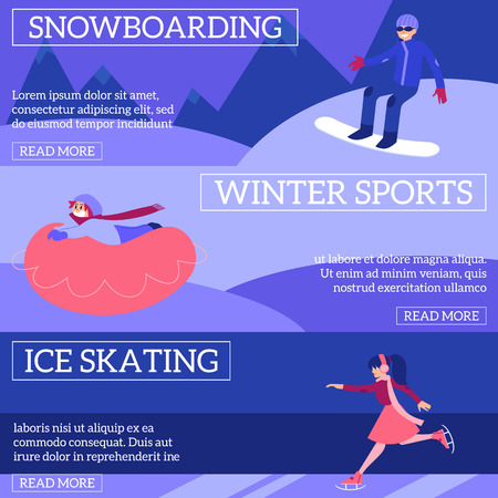 Vector illustration set of winter sport and active leisure horizontal banners with diversity people snowboarding, skating and riding on snow tube outdoors in flat style. Foto de archivo - 128169276
