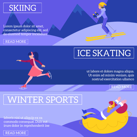 Vector illustration set of winter sports and active leisure horizontal banners with young women skiing, skating and riding on snow tube outdoors in flat style - healthy lifestyle seasonal posters.  イラスト・ベクター素材