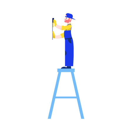 Vector illustration of house building and remodel concept with young man in blue uniform stands on step ladder and meters wall with level and ruler in flat style isolated on white background.