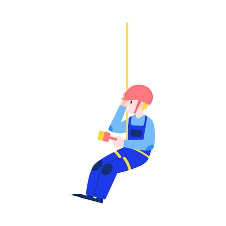 Illustration vectorielle du concept de construction et de rénovation de maisons avec un jeune homme en uniforme et un casque suspendu à une corde sur une attitude élevée et un mur de peinture dans un style plat isolé sur fond blanc. Vecteurs