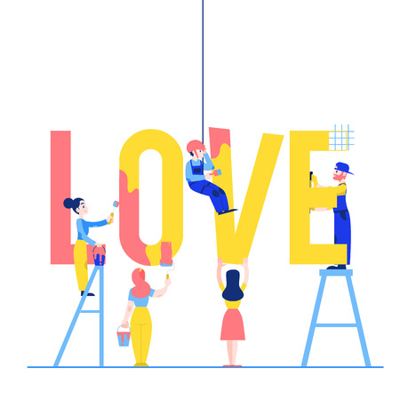 Love text design vector illustration with men and women building and painting big letters isolated on white background - male and female characters constructing word for flat design.
