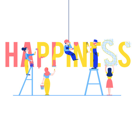Happiness text design vector illustration with men and women building and painting big letters isolated on white background - flat male and female characters constructing word. Illustration