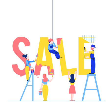 Sale text design vector illustration with men and women constructing and painting big word isolated on white background - flat male and female characters building letters.