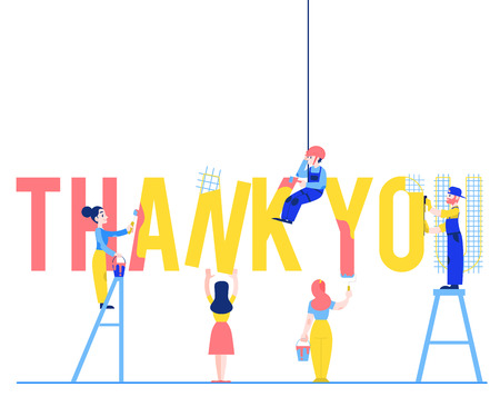 Thank you text design vector illustration with people constructing and painting big sign isolated on white background - flat male and female characters building letters. Illustration