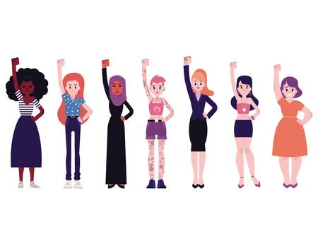 Illustrazione vettoriale di potere della ragazza insieme con diversità multirazziale giovani donne in piedi con i pugni alzati isolati su priorità bassa bianca in stile piano - lotta per il concetto di femminismo e diritto delle donne.