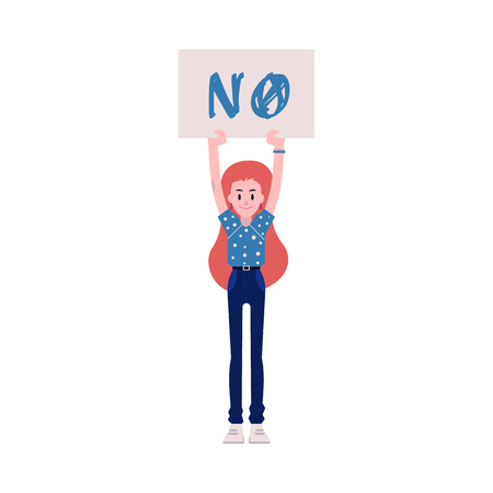 Vector illustration of woman protester. Young caucasian girl keeping placard with NO sign up isolated on white background - fighting for female rights and gender equality concept.