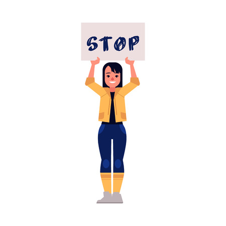 Vector illustration of woman protester and activist. Young girl holding placard with STOP sign above her head isolated on white background - fighting for female rights and gender equality concept.