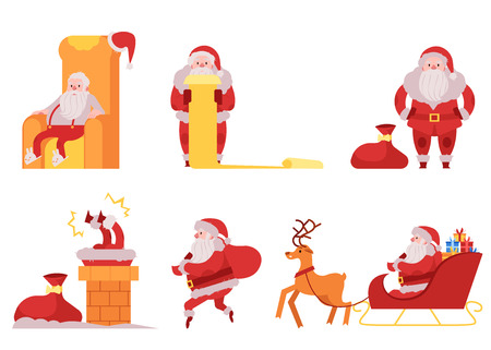 Santa Claus vector illustration set - various scenes with Christmas and New Year symbol in red costume going to give presents and gifts for holiday in flat style isolated on white background.