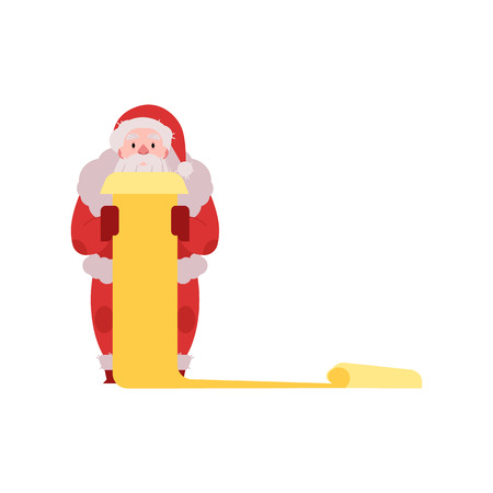 Vector illustration of Santa Claus in red costume and hat standing with scroll list of wishes in hands isolated on white background - Christmas and New Year congratulation symbol in flat style. 向量圖像