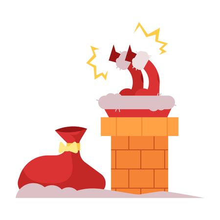 Ilustración de vector de Santa Claus en traje rojo atrapado en la chimenea tratando de bajar para dar regalos de Navidad y año nuevo y presenta aislados sobre fondo blanco en estilo plano.