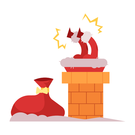 Vector illustration of Santa Claus in red costume stuck in chimney trying to come down to give Christmas and New Year gifts and presents isolated on white background in flat style.