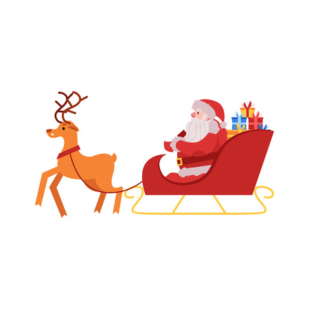 Vector illustration of Santa Claus in red costume and hat with gift boxes sitting in sleigh drawn by reindeer isolated on white background - Christmas and New Year symbol in flat style. Ilustracja