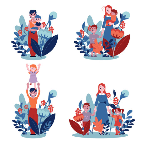 Vector illustration set of mothers with their children isolated on white background with floral decorations. Happy family concept in flat style with young mom holding and playing with her kid.