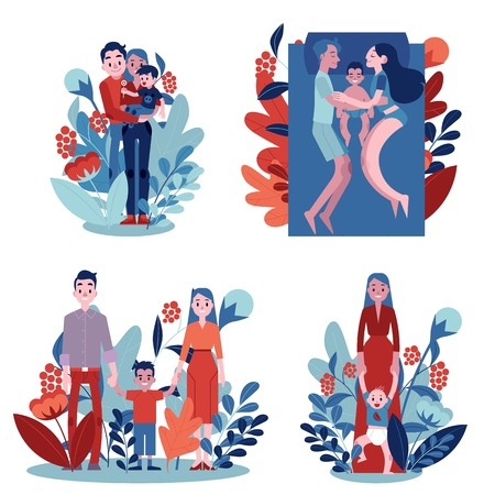 Vector family hugging set. Adult couples mother and father hug small son kid, child. Happy male, female characters smiling standing, lying at sofa together on florals background illustration