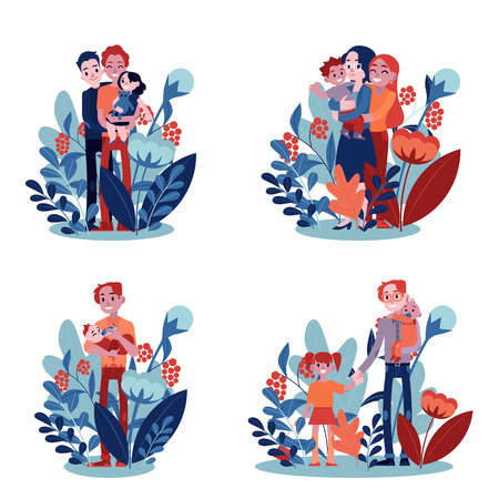 Vector lesbian, gay family and single father hugging set. Adult homosexual couple mother and father women hug small son kid holding in hands. Happy characters smiling together on floral background Ilustração