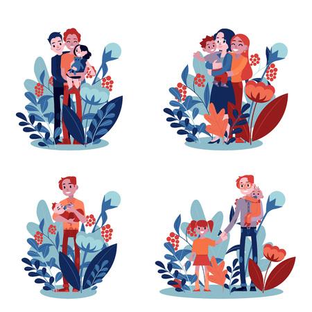 Vector lesbica, famiglia e padre single che abbraccia insieme. Coppia adulta madre e padre donne abbracciano figlio piccolo bambino che tiene in mano. Personaggi felici che sorridono insieme su sfondo floreale