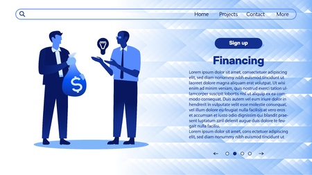 Vector illustration of financing new business idea with man holding light bulb and businessman with us dollars in bag - isolated flat gradient image of loan for project startup on web page template.