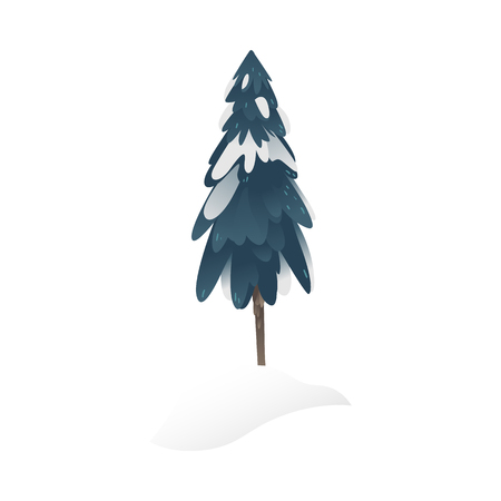 Snowy fir-tree vector illustration for seasonal natural design in flat style. Winter decorative element of forest or park spruce covered with snow isolated on white background. Ilustração
