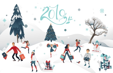 Vector 2019 new year, christmas holiday sale, discount or clearance characters at winter outdoor snow landskape background. Happy cheerful men and women, kids running with present boxes shopping bags