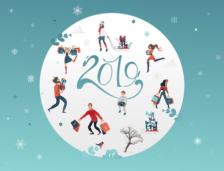 Vector illustration of 2019 New Year and Christmas banner with various winter holiday symbols and people buying and carrying gifts and presents in round shape on blue background with snowflakes.