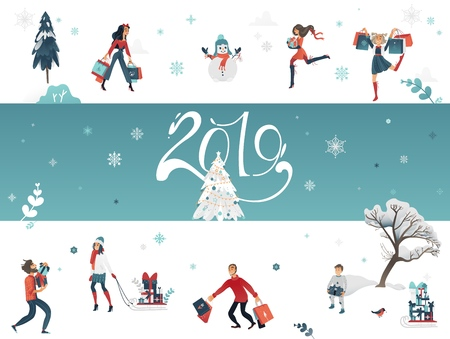 Vector illustration of 2019 New Year and Christmas horizontal banner with winter holiday symbols and people buying gifts and presents on background with snowflakes and sign. Illustration