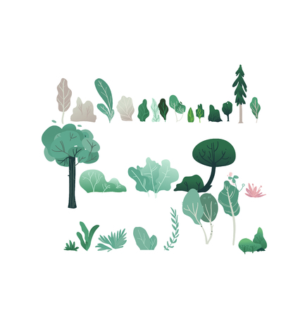 Fantasy forest vector illustration set with various trees and shrubs with green and gray foliage isolated on white background - abstract plants for natural design in trendy flat gradient style. Vector Illustratie