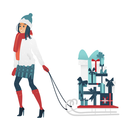 Vector illustration of young woman pulling sleigh with big stack of wrapped and decorated present boxes in cartoon gradient style - girl in winter clothes buying gifts for Christmas and New Year.