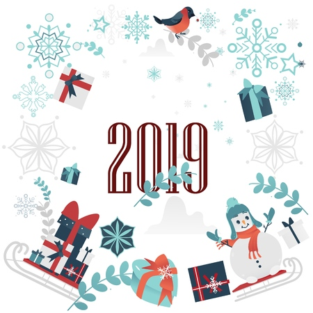 2019 Winter sale poster with present boxes with ribbons, snowman in hat and scarf on sledge, santa sled with gift abstract florals, snowflakes and bullfinch. Merry christmas, new year discount vector