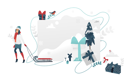 Vector illustration of Christmas and New Year banner with copy space isolated on white background - cartoon gradient woman walking with sleigh near snowy fir-tree and gift boxes.