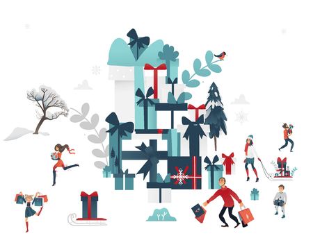 Vector 2019 new year, christmas holiday sale, discount or clearance characters near huge present box pile near winter trees. Happy cheerful men and women, kids running with present boxes shopping bags