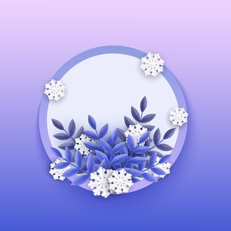 Vector illustration of winter banner with blank round shape with various decorative elements - blue plant leaves and white falling snowflakes in paper art isolated on gradient background.