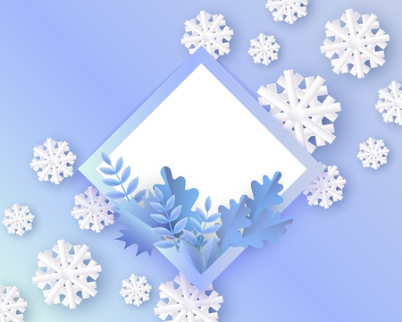 Vector illustration of winter natural banner with blue plant leaves in blank rhombus shape with frame and copy space on gradient background with white snowflakes in paper art. Illustration